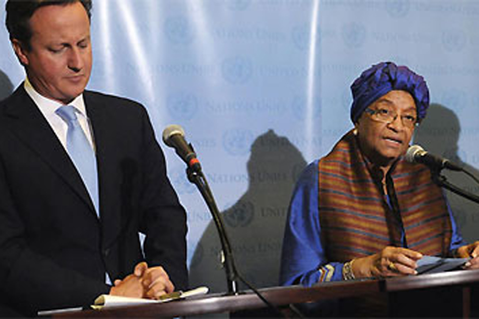 British Prime Minister David Cameron and Liberian President Johnson Sirleaf. Picture: M Castro/UN Photo