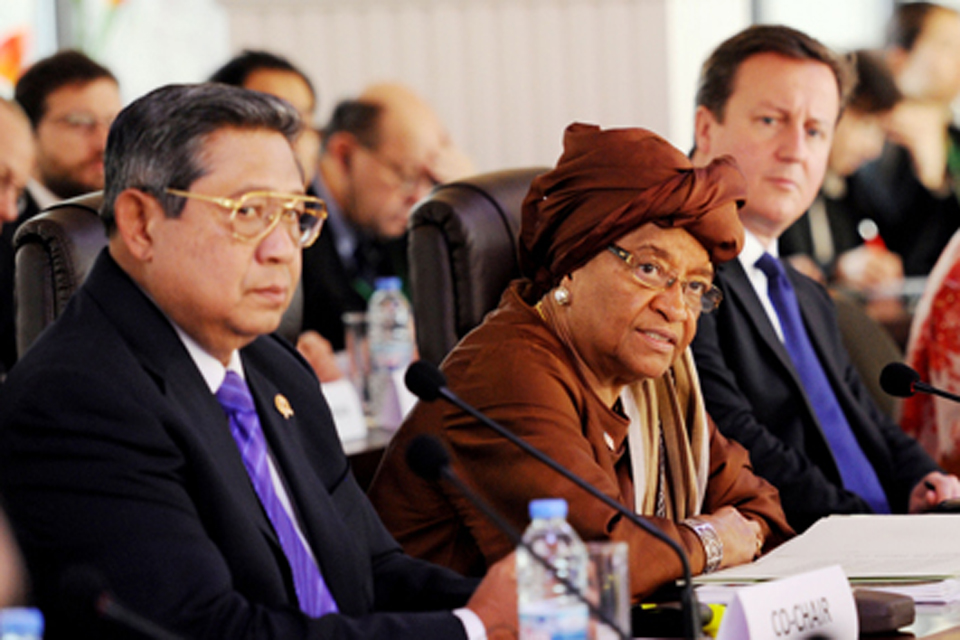 President Yudhoyo of Indonesia, President Sirleaf of Liberia and Prime Minister David Cameron at the UN High Level Panel. Credit: Stefan Rousseau/PA
