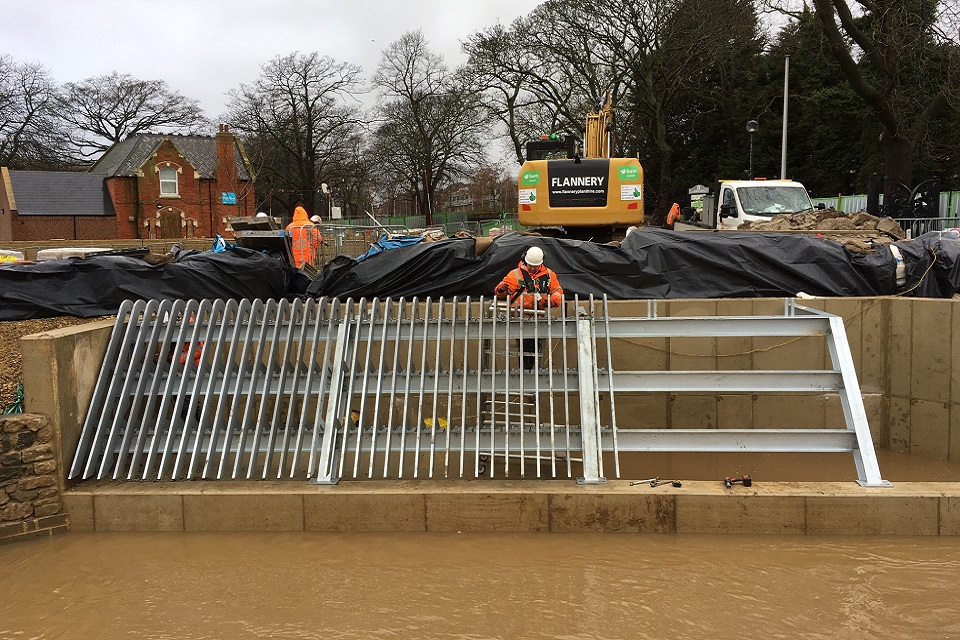 Image shows the new debris screen at Marton West Beck under construction