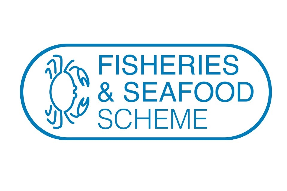Fisheries and Seafood Scheme Logo depicting scheme name and image of crab in blue lines