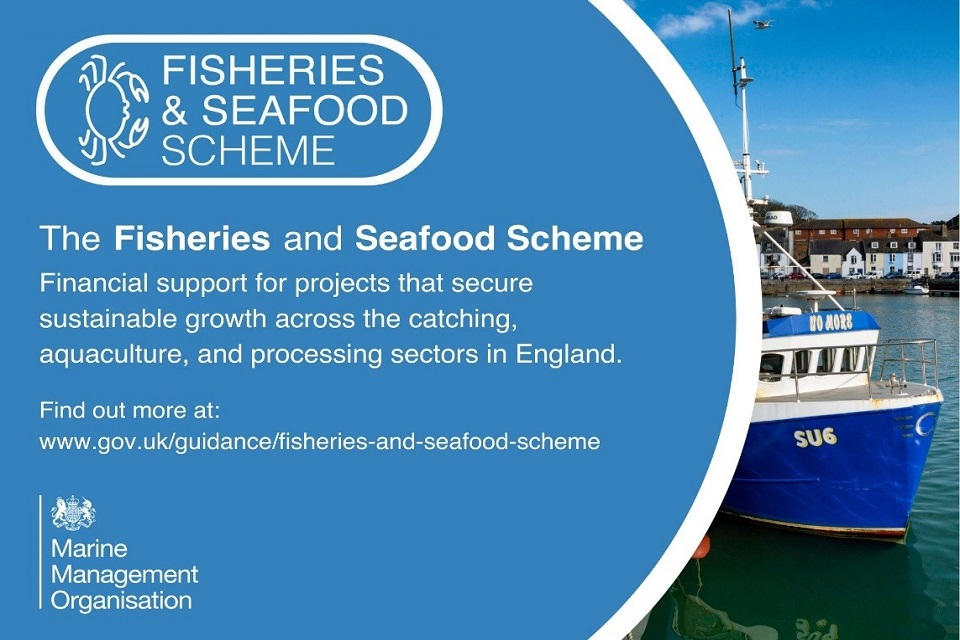 Fisheries and Seafood Scheme poster depicting a boat and link to website