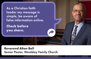 """Reverend Alton Bell, Senior Pastor at Wembley Family Church, who says: """"As a Christian faith leader, my message is simple, be aware of false information online."""""""