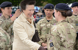 Princess Anne shakes hands with a soldier of 2 Signal Regiment [Picture: Sergeant Dan Bardsley, Crown copyright]