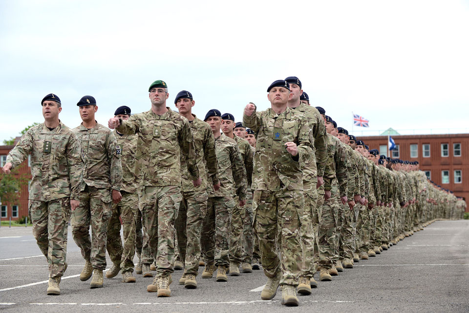 Soldiers of 2 Signal Regiment on parade