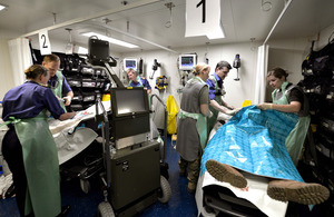 Medics in action in RFA Cardigan Bay's sick bay [Picture: Petty Officer (Photographer) Paul A'Barrow, Crown copyright]
