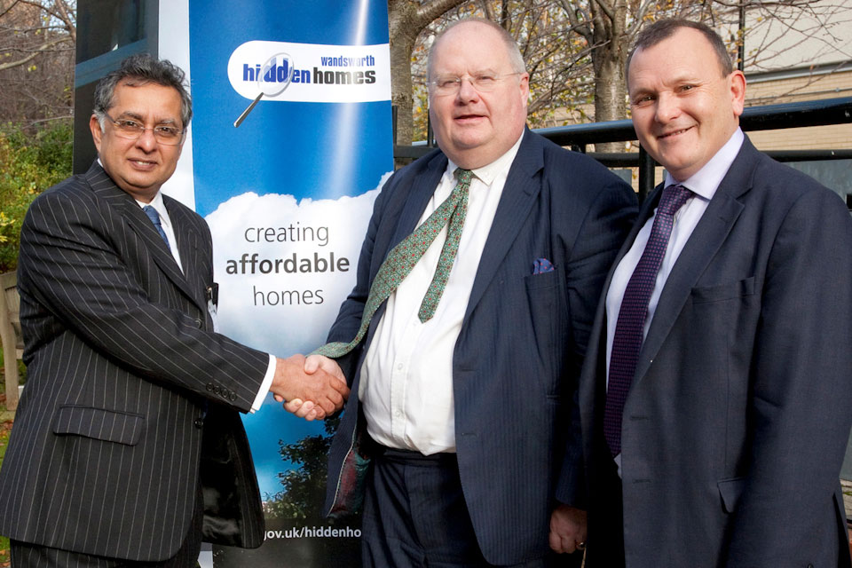 Eric Pickles with Council Leader Ravi Govindia and Councillor Paul Ellis