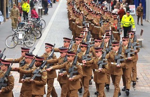 Soldiers of the 1st Battalion Scots Guards march through Inverness [Picture: Mark Owens, Crown copyright]