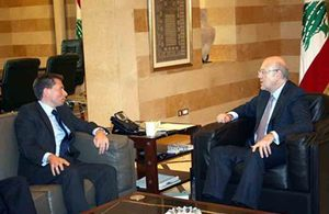 Tom Fletcher with Najib Mikati