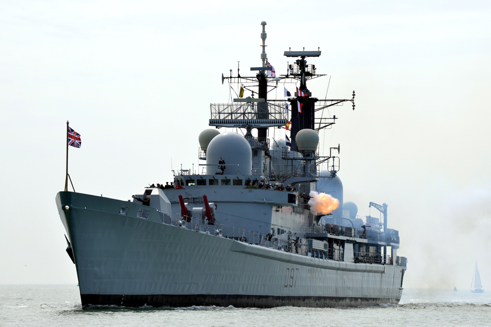 A 21-gun salute is fired from HMS Edinburgh