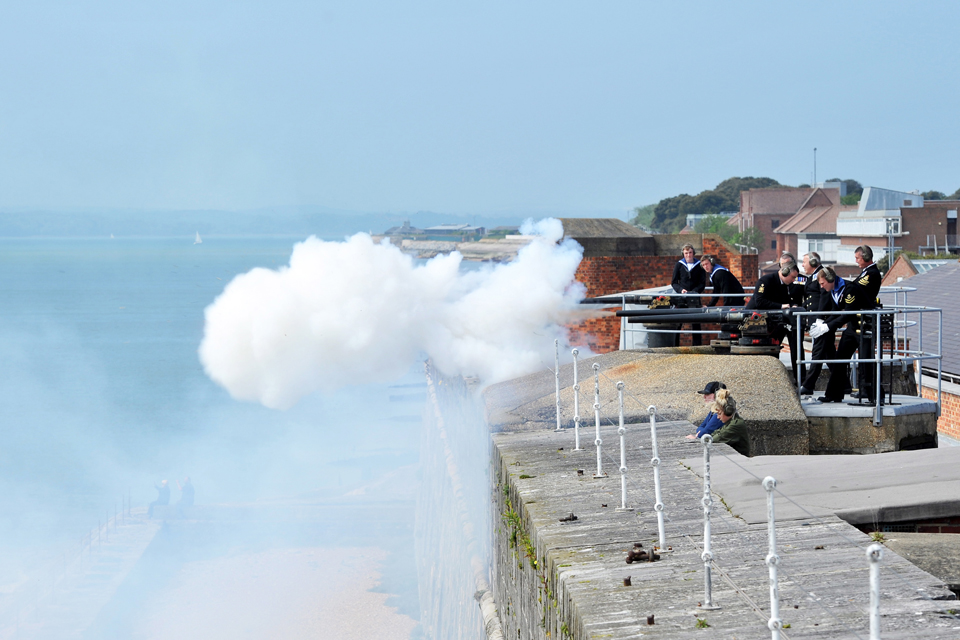 Saluting guns being fired from Fort Blockhouse, Gosport