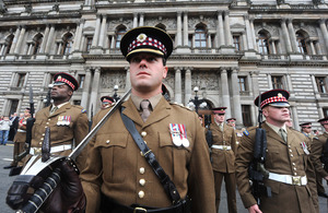 Members of the 1st Battalion Scots Guards on parade in Glasgow to mark their return from a tour of duty in Afghanistan [Picture: Mark Owens, Crown copyright]