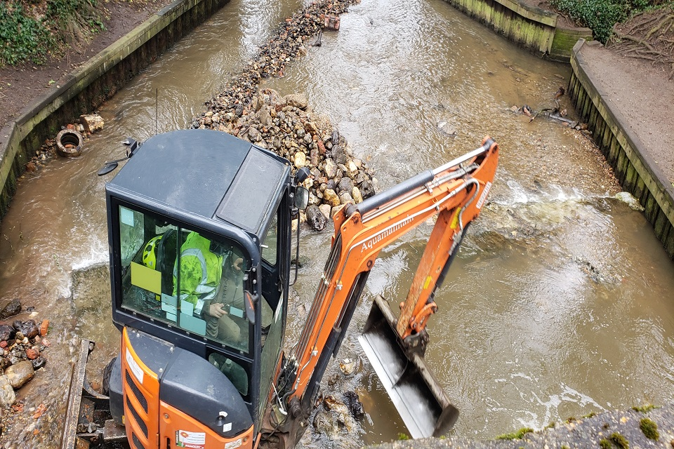 Construction vehicle during the work on the chalk stream.