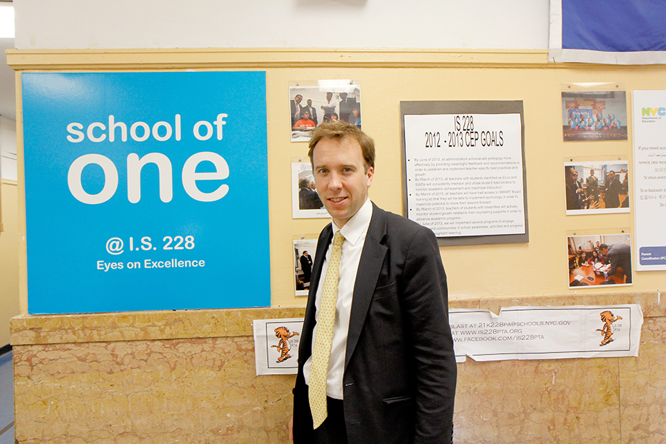 Matthew Hancock MP visits a school in Brooklyn to see the School of One programme in action.
