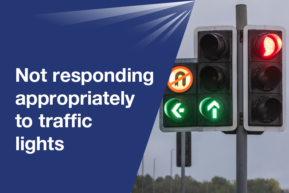 Not responding appropriately to traffic lights