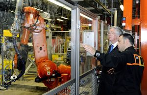 Michael Fallon tours the assembly line at the MINI Plant Oxford