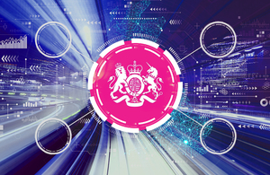 Decorative: the DCMS logo against a background of networks that signifies digital connectivity and 5G