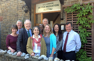 Justice Minister Lord McNally at the Family Mediation Bureau in Bromley, South East London