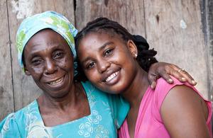 Mwajuma, 17, with her grandmother