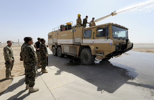 RAF firefighters train Afghans at Camp Shorabak in Helmand province