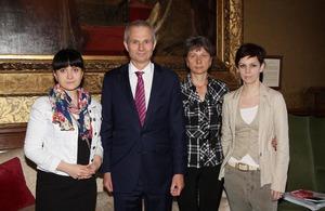 Anastasia Dashkevich, Minister for Europe, David Lidington, Lyubov Kovalyova and Natalia Kaliada from the Belarus Free Theatre
