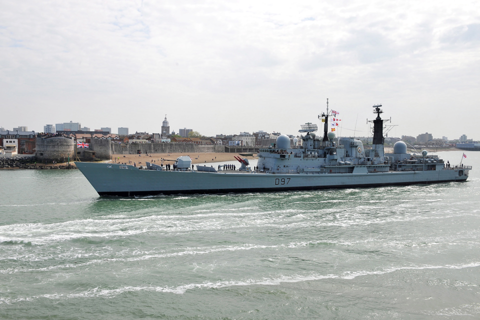 HMS Edinburgh passes the Round Tower