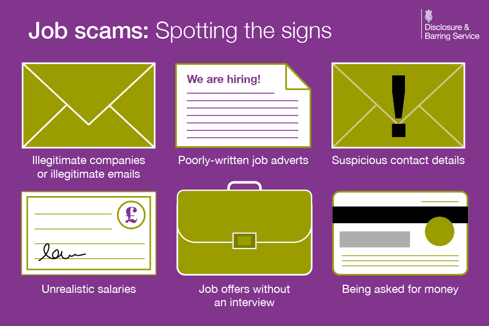 Job scams: Spotting the signs - illegitimate companies or emails; poorly-written job adverts; suspicious contact details; unrealistic salaries; job offers without an interview; being asked for money.