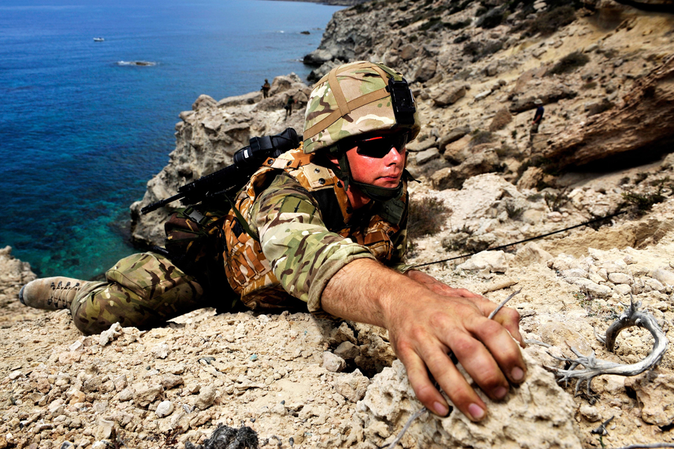 A Royal Marines commando conducting vertical assault training