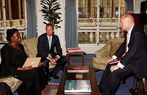 Foreign Secretary William Hague, Minister for Africa Mark Simmonds, Nigerian Deputy Foreign Minister Professor Viola Onulwiri
