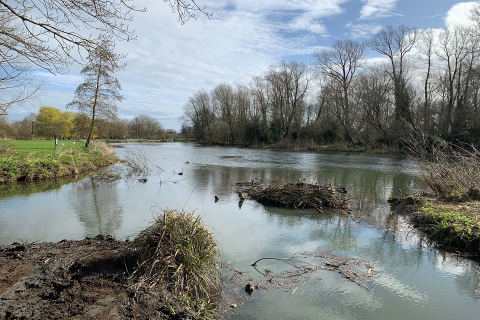 The same section of river as the previous image but after the willow and vegetation had been removed.