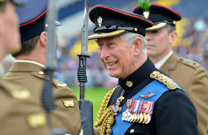 Prince Charles shares a joke with a soldier of the Mercian Regiment [Picture: Corporal Steve Blake, Crown copyright]