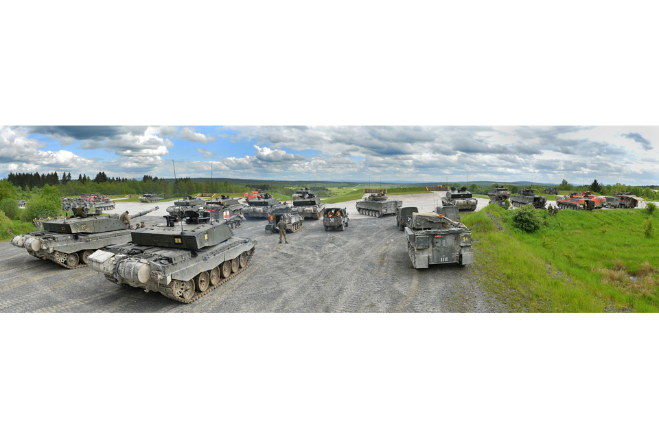 British Challenger 2 main battle tanks and Warrior armoured infantry fighting vehicles