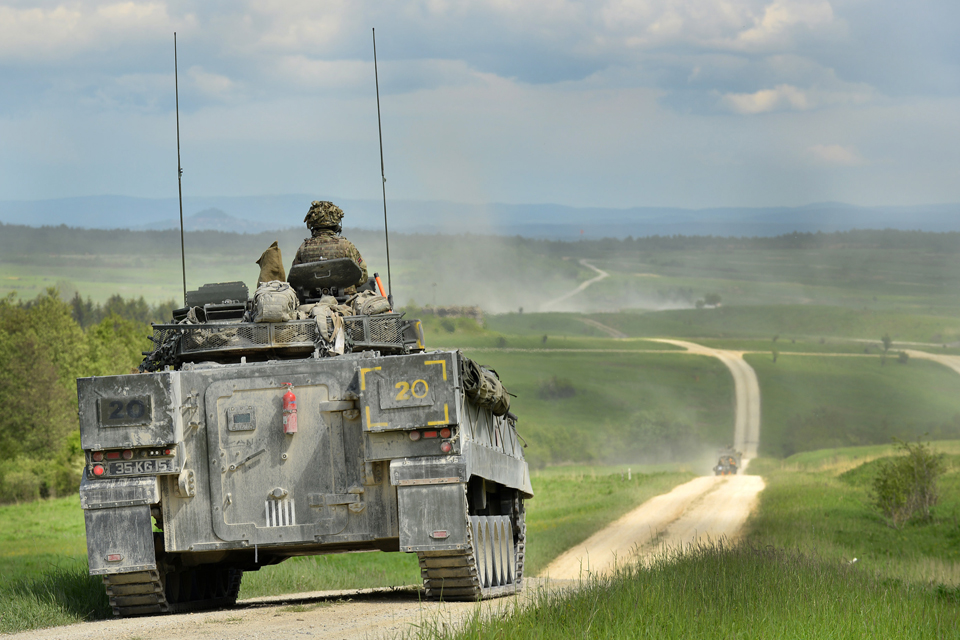 A British Warrior armoured infantry fighting vehicle