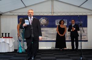 Ambassador Robin Barnett speaks at the gala of the Wielkopolski Capital Club
