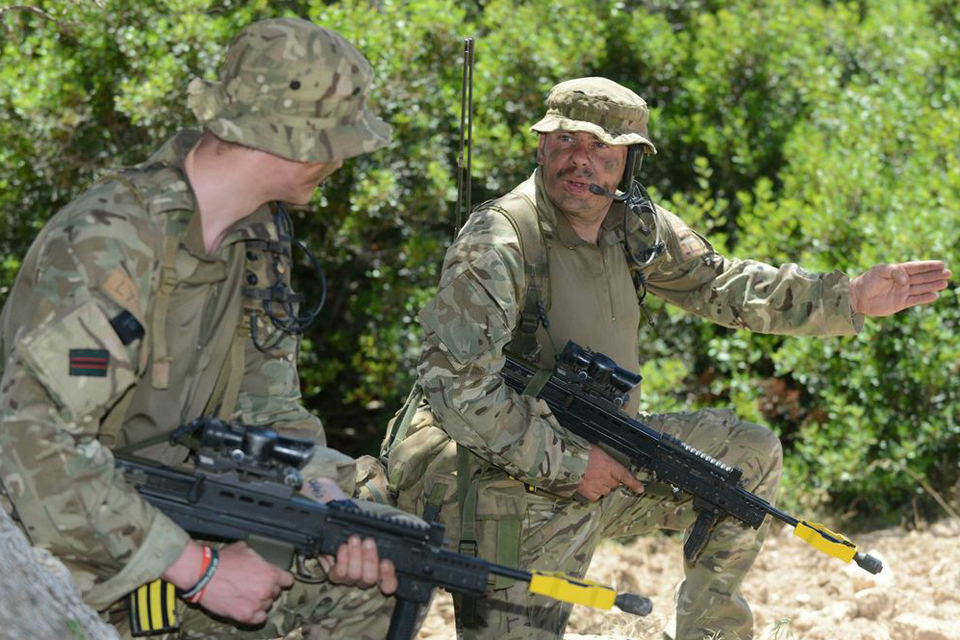 Riflemen on patrol during Exercise Lion Star 3 in Cyprus