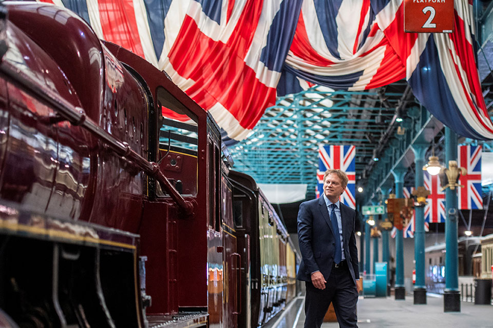 Grant Shapps with a steam train.