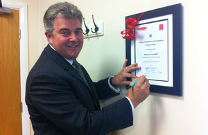 Brandon Lewis opens a new Chambers of Commerce office facility at South Essex College.