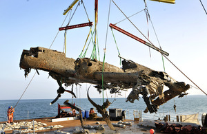 The Dornier Do 17 aircraft is raised from Goodwin Sands in the English Channel [Picture: Iain Duncan, Trustees of the RAF Museum]