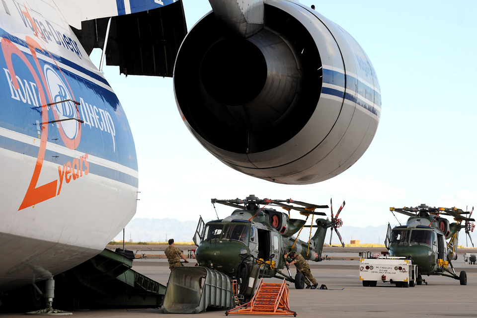 Lynx Mk9A helicopters being loaded onto a Russian Antonov 124 cargo plane