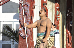 A Maori warrior welcomes Bell Buoy participants [Picture: Chris Weissenborn, New Zealand Defence Force, Crown copyright]