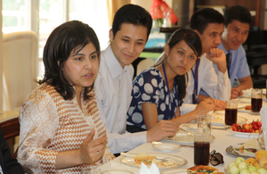 Baroness Warsi with Uzbek students