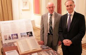 Professor Timon Screech and British Ambassador Tim Hitchens with a replica of John Saris' diary