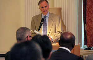 British Ambassador Tim Hitchens speaking at a seminar at the British Embassy Tokyo on UK-Japan collaboration in Africa