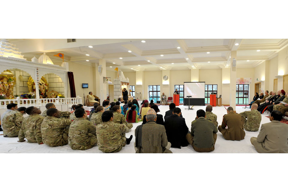 Service personnel attend a Diwali ceremony