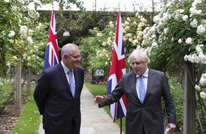 Prime Minister Boris Johnson and Australia's Prime Minister Scott Morrison.