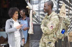 Captain Cyrus Karumba engaging with local Kenyans