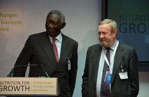 Co-Chairs of the Global Panel, John Kufuor, former President of Ghana and Prof. Sir John Beddington, former UK Chief Scientific Adviser, at the Nutrition For Growth Event on 8 June. Picture: Alina Paul-Bossuet/ ICRISAT