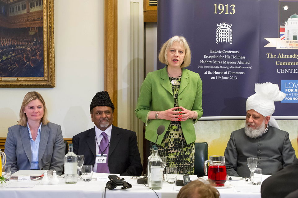 Home Secretary Theresa May speaks at the House of Commons event to mark the Ahmadiyaa Muslim Association's hundredth year in the UK