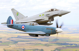A Spitfire from the Royal Air Force Battle of Britain Memorial Flight is pictured with a 3 Squadron RAF Typhoon aircraft in formation over Lincolnshire (library image) [Picture: Sergeant Pete Mobbs RAF, Crown copyright]