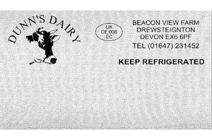 Dunn's Dairy, Beacon View Farm Black and white image of the label