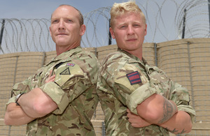 Father and son, Captain Malcolm 'Shed' Marsden and Sapper Robert Marsden, at Camp Bastion [Picture: Sergeant Barry Pope RLC, Crown copyright]